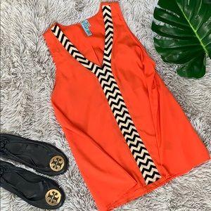 🦃 Dina be coral chevron sleeveless blouse L